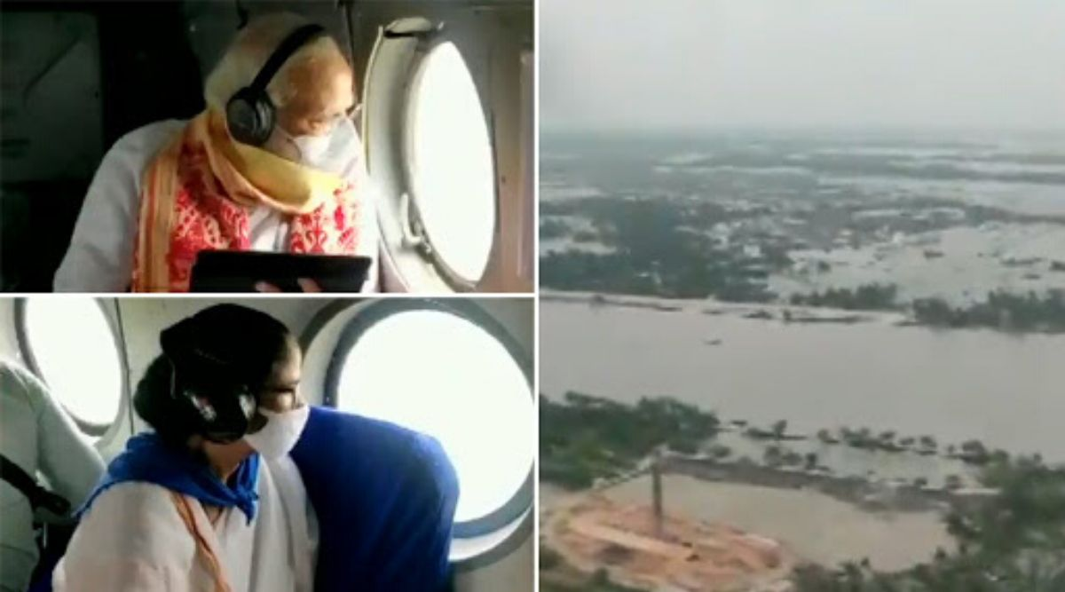 PM Narendra Modi And West Bengal CM Mamata Banerjee Conduct Aerial Survey of Areas Affected Due to Cyclone Amphan, Watch Video
