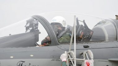 IAF Air Chief Marshal RKS Bhadauria Flies LCA Tejas During Induction Ceremony of The Aircraft Into 'Flying Bullets' at Sulur Airbase, Watch Video