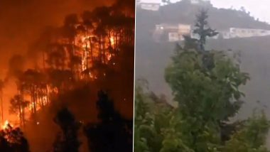 Uttarakhand Forest Fires: Video of Region Receiving Rainfall Surfaces Online, Weather Update of Chamoli, Rudra, Tehri And Other Parts of The State Indicates Cloudy & Rain Forecast