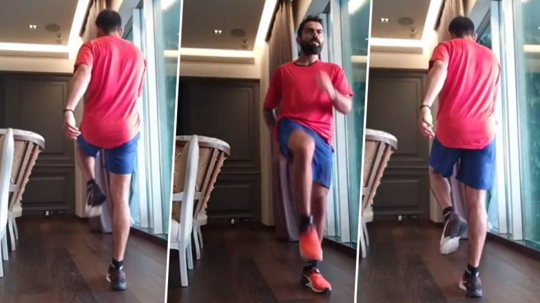 Virat Kohli Continues to Workout at Home Amid Lockdown, Performs '180 Landings' (Watch Video)