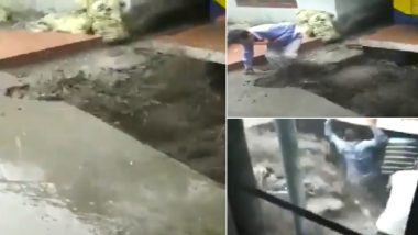 Himachal Pradesh: Overflowing Nullah Floods Underground Shop in Karsog, Locals Rescue Stranded People by Breaking Shutter - Watch Video