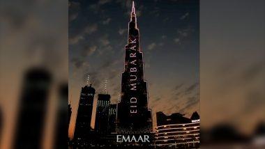 Burj Khalifa Lights Up With 'Eid Mubarak' Message to Celebrate Eid al-Fitr 2020, Watch Mesmerising Video of World's Tallest Building in Dubai!