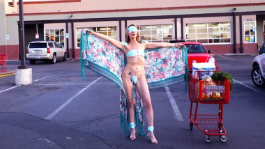 Woman Wears Face Masks As Bikini Protesting Outside Trader Joe's Against COVID-19 Lockdown in Los Angeles, Gets Slammed Online (View Pics)