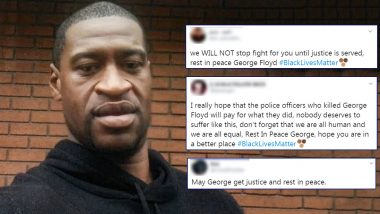 'Rest in Peace George Floyd' Trends on Twitter, Netizens Offer Condolences With #BlackLivesMatter Message Amid Raging Protests Over His Death Across US
