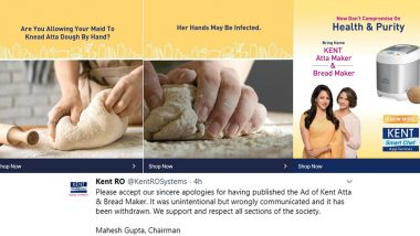 Kent RO Issues Public Apology, Removes Controversial Atta Dough Maker Ad