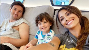 Lionel Messi Lets his Hair Down With Wife Antonela Roccuzzo & Son Ciro After Training at Barcelona (See Pic)