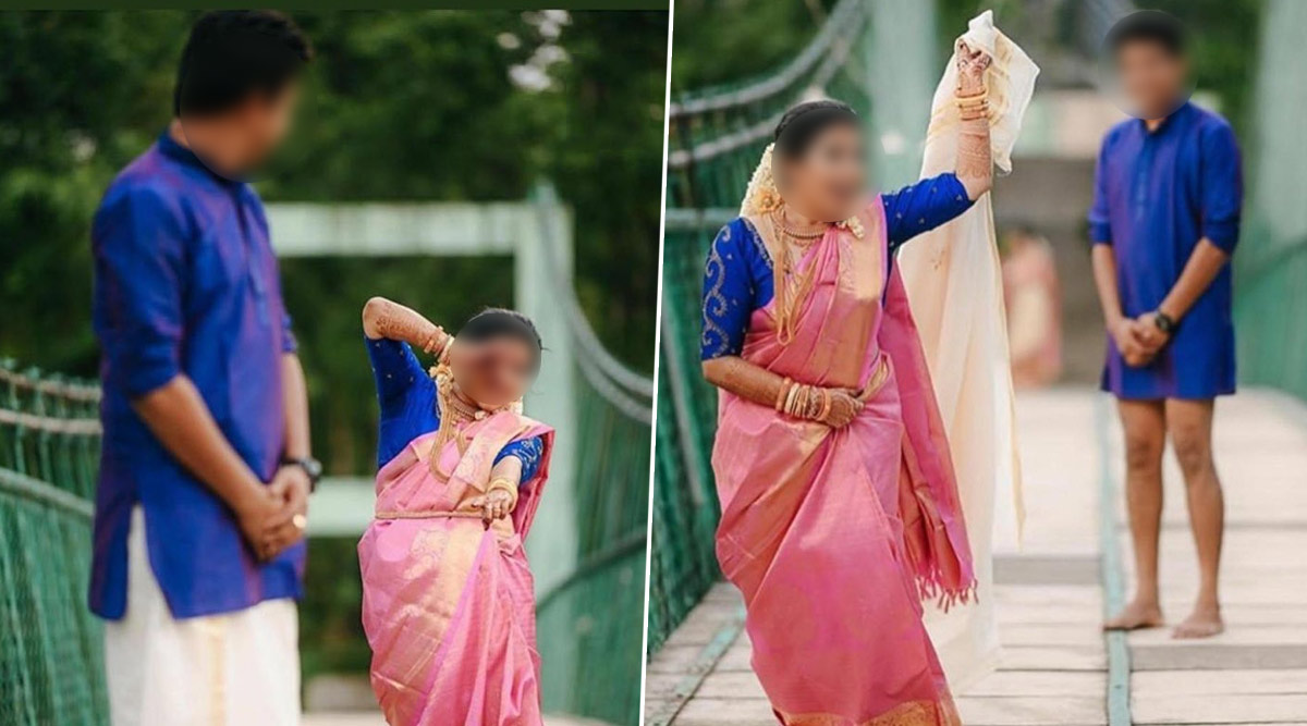 Funny Wedding Photoshoot Of Bride Running Away With Groom S Dhoti Is Going Viral On Twitter For Wrong Reasons Know The Background Story Of This Hilarious Pose Latestly