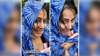 Hina Khan Steps Out of Home in a Raincoat for Pilates Workout Despite Heavy Rain