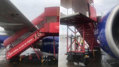 IndiGo Aircraft Parked at Mumbai International Airport Hit by Step Ladder Amid Strong Winds