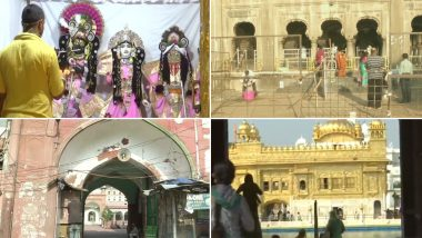 Religious Places Reopen Across India From Today, Devotees Offer Prayers at Temples, Churches, Mosques, Gurdwaras With Social Distancing Norms; See Pics and Videos