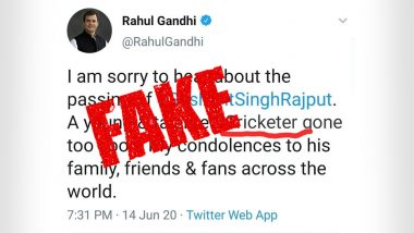 Did Rahul Gandhi Call Sushant Singh Rajput a 'Cricketer' in Condolence Tweet? Here's a Fact Check to Debunk Fake News