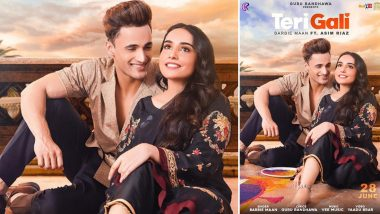Teri Gali Song Poster: Asim Riaz Gazes At Barbie Maan Flashing His Amazing Smile in the Upcoming Track's Still (View Pic)