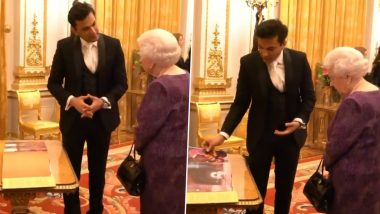 Chef Vikas Khanna Presents His Book Utsav to Queen Elizabeth II, Breaks Protocol And Requests Table to Show the 'Pride And Beauty' of India (Watch Video)
