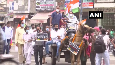 Punjab Congress Workers Ride Horse Carts with Scooters Loaded on Them, Pull Tractors with Ropes to Protest Against Fuel Price Hike