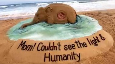 Pregnant Elephant's Death in Kerala Gets Another Sand Art Tribute From Sudarsan Pattnaik, New Creation Reads, 'Mom! Couldn't See the Light & Humanity'