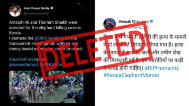Pregnant Elephant Death in Kerala: Health Ministry Media Advisor And Journalist Tweet Names of 'Amzath Ali And Thamim Shaikh' As Accused Without Official Announcement, Delete Posts Later