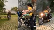 MS Dhoni Gives Bike Ride to Daughter Ziva at Ranchi Farmhouse Amid 'Crazy Lightning' (Watch Video)