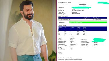 Prithviraj Sukumaran Voluntarily Gets Tested For COVID-19 and the Result Is Negative, Malayalam Actor Shares Test Report on Social Media