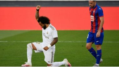 Marcelo Takes a Knee for Black Lives Matter Movement After Scoring in Real Madrid's 3–1 La Liga 2019–20 Win Against Eibar (Watch Video)