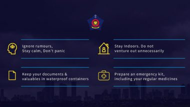 Cyclone Nisarga: Mumbai Police Gives Advice on Precautionary Measures to Follow During Cyclonic Winds and Heavy Rains