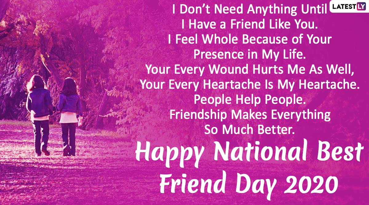 National Best Friend Day 2020 Wishes Hd Images Whatsapp Stickers Gif Greetings Bestfriends Facebook Messages Bff Quotes And Sms To Send To Your Best Friends