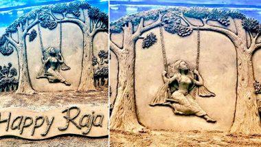 Raja Parba 2020 in Odisha: Sudarsan Pattnaik Dedicates Sand Art to Mithun Sankranti Festival Celebrating Mother Earth and Menstruation