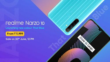 Realme Narzo 10 'That Blue' Colour Variant Introduced in India; to Be Available for Online Sale Tomorrow at 12 Noon