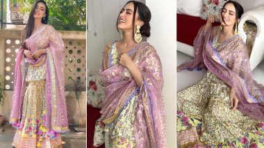 Sana Khaan Is Channeling Her Inner Spring Goddess in This Floral Sharara Suit!