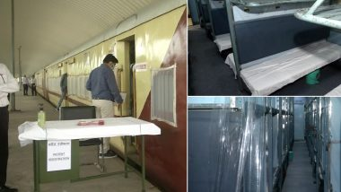 Train Coaches Turned Into Isolation Wards by Indian Railways Ready For COVID-19 Patients at Delhi's Shakurbasti Railway Station, View Pics