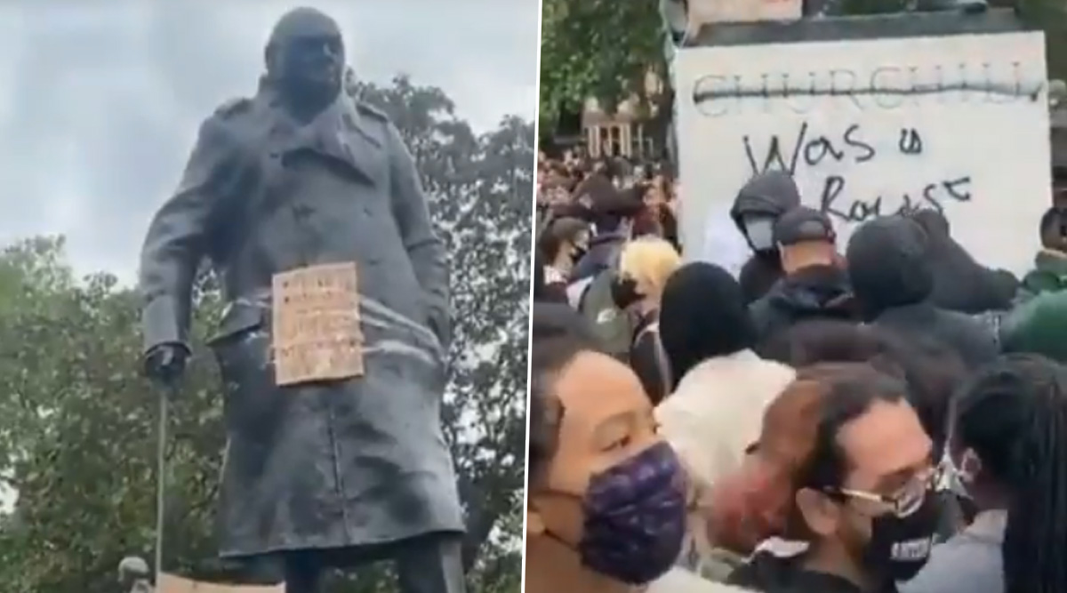 Winston Churchill Statue Vandalised in London During George Floyd Death Protests and Black Lives Matter Movement (Watch Video)