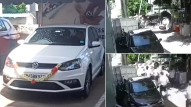 Brand New VW Polo Crashes Into Gate of Showroom After Driver Loses Control of The Car (Watch Accident Video)