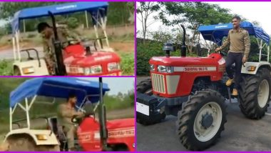 MS Dhoni Turns Farmer, CSK Captain Seen Ploughing Field on a Tractor at His Ranchi Farmhouse (Watch Viral Video)