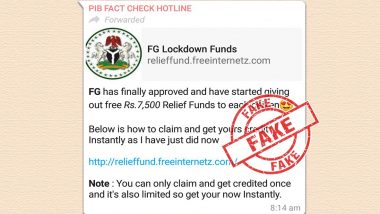 Each Citizen Will Get Rs 7,500 Cash as Relief Fund? PIB Fact Check Finds Viral WhatsApp Message Fake