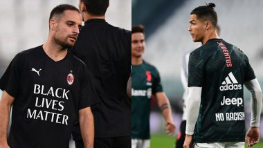 Cristiano Ronaldo, His Juventus Teammates, AC Milan Stand Up Against Racism; Don 'No Racism', 'Black Lives Matter' Training Shirts Ahead of Coppa Italia 2019-20 Semi-Final (See Pics)