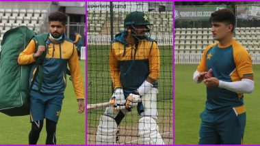 Babar Azam and Other Members of Pakistan Cricket Team Take Part in Practice Session After Testing Negative in COVID-19 Tests Conducted by ECB (View Latest Pics)