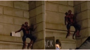 Spiderman Scales Manhattan Bridge During Black Lives Matter Protest in New York And People Request Him to 'Do a Flip' (Watch Viral Video)