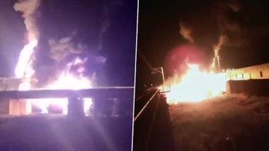 Andhra Pradesh: Three Coaches of Goods Train Carrying Oil Tankers Catch Fire After Getting Derailed Between Surareddipalem and Tangutur Stations
