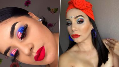 Fourth of July 2020 Latest Makeup Looks: Include Red, Blue, White & Stars in Unique Ways on Your Face with These Easy July 4 Makeup Inspirations on Instagram