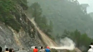 Uttarakhand: Landslide Occurs at Kodiya Area of Chamoli District, Badrinath National Highway Blocked (Watch Video)