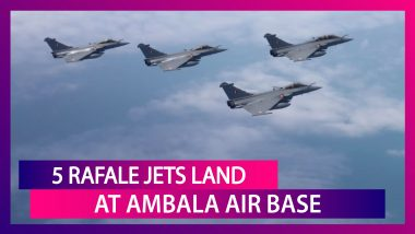 """First Batch Of 5 Rafale Jets Touch Down At Ambala Air Base, """"Welcome Home, Golden Arrows"""" Says IAF"""