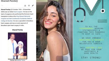 National Doctors' Day 2020: Ananya Panday Pays Tribute To Her Late Grandfather Dr Sharad Panday and Thanks All 'Superhero Doctors' For Their Efforts