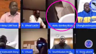 Video of a South Sudan Diplomat Urinating LIVE During an Online Panel Discussion on FB Goes Viral! Netizens Ask Him to Step Down (Watch Video)