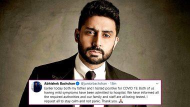 After Amitabh Bachchan, Abhishek Bachchan Confirms Testing Positive For COVID-19; Results for Aishwarya Rai, Jaya Bachchan Awaited (View Tweets)