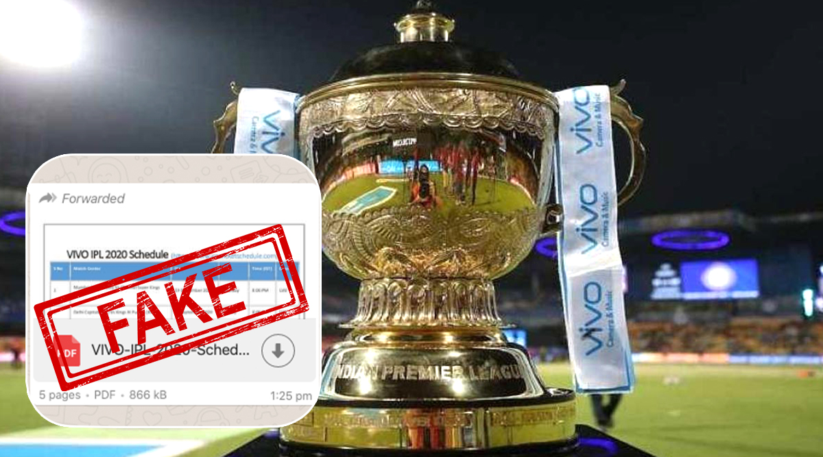 Fake Vivo Ipl 2020 Schedule In Pdf For Download Goes Viral On Whatsapp Bcci Yet To Announce Time Table For Upcoming Indian Premier League Season 13 Latestly