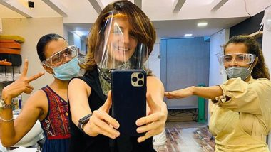 Sussanne Khan Wears a Face Shield While Clicking a Happy Selfie with Her Salon Staff
