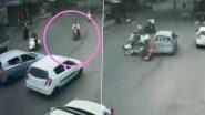 Car Rams Into Scooty in Madhya Pradesh's Hoshangabad, Watch Video
