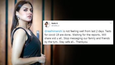 COVID-19: Himanshi Khurana Gets Herself Tested For the Pandemic, Results Awaited (View Tweet)
