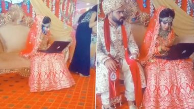 Last-Minute Presentation Call from Office or Video Conferencing with Relatives During Wedding amid Pandemic? Viral Video of Bride with Laptop on Stage Raises Twitterati's Humour Quotient