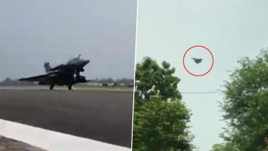 Rafale Fighter Jets Land in India: Watch First Visuals and Touchdown Video of 'Omnirole' Aircraft at Ambala Airbase