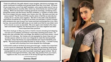 Aamna Sharif Recalls How She Has Been Dealing With COVID-19 and How She Has Been Managing The Situation (View Post)